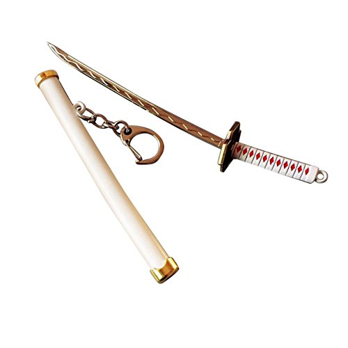 Leezo - Llavero con Diseño de Espada Samurai (15 cm, 7 Colores), Blanco