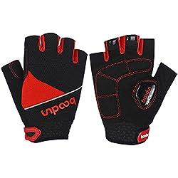 AmDxD Herren Fahrradhandschuh Halbe Fingerhandschuhe Silikon Rutschfest Handschuhe Rot Handschuhe Größe XX-Groß