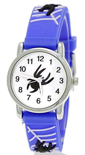 Totenkopf Jungen Kostüme Soldat (Pure Time Kinderuhr,Kinder Silikon Armband Uhr mit Spinnen Mann Motiv Blau, Weiß inkl.)