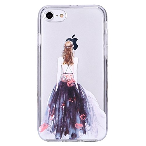 iphone 7 Hülle Case,iphone 7 Schutzhülle Bumper,Ekakashop Modisch Durchsichtig Ultra dünn Slim 2 in 1 Transparent Schimmel Muster Weiche TPU + PC Silikon Crystal Klar Flexible Gel Case Defender Protec Ink Schleier Mädchen