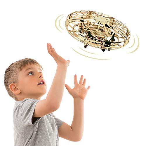 EUTOYZ 3-10 Jahre Mädchen Jungen Geschenk, Handgesteuertes RC Spielzeug UFO Mini Hubschrauber Cooles Spielzeug für Kinder Spaß Spielzeug für Jungen Mädchen ab 3-10 Jahre Mädchen Geschenk(Gold)