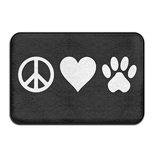 PdGAmats Peace Love Pets Dog Cat Pet Non-Slip Indoor/Outdoor Entrance Rug 23.6