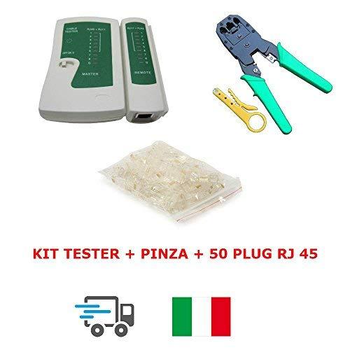 TESTER CAVO DI RETE LAN RJ45 RJ12 RJ11 + PINZA CRIMPATRICE + 50 PLUG ETHERNET