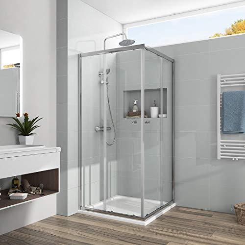 Duschkabine 80x80x185cm Eckeinstieg Duschabtrennung 6mm ESG Glas Schiebetür Duschtür
