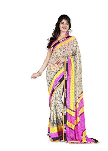 Sharda Sarees Georgette Saree (Pink - Beige) with Blouse Piece