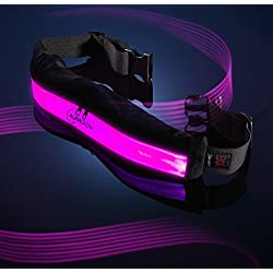 Auraglow Super Bright High Visibility LED Light-Up Reflective Recargable USB Running Cinturón de seguridad de ciclismo con bolsillos - Rosa