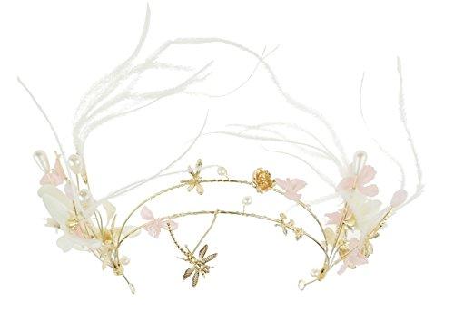 Damen Retro Boho Festival-Gold Tone Floral Feder Faux Pearl Brautschmuck Diadem Hochzeit Alice Band S7