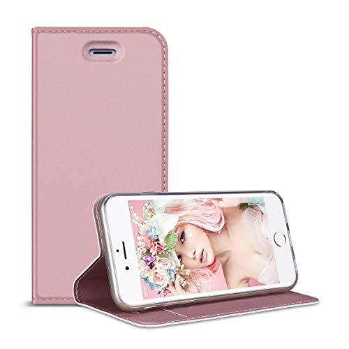 el mit iPhone 6 Plus/iPhone 6S Plus Hülle, PU Leder Handyhülle Rosegold Schutzhülle Brieftasche Lederhülle Klapphülle mit Kartenfach Standfunktion Magnet Etui ()