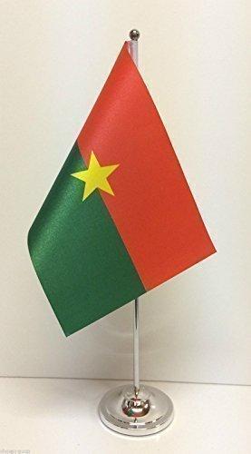 Mit Motiv Flagge von Burkina Faso Satin verchromte Fassugn Tisch Flagge im Set -