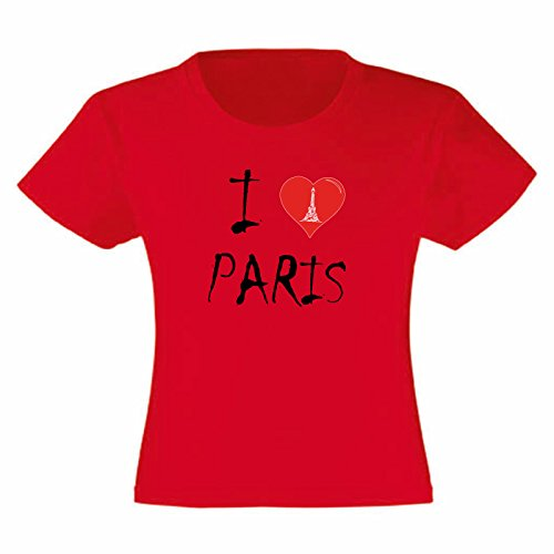 Art t-shirt, maglietta i love paris, bambina, rosso, 7-8 anni