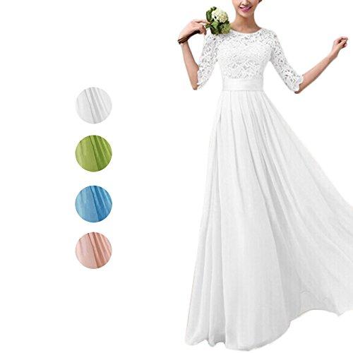 D9Q eleganten Frauen Chiffon formales Spitze Partei Cocktail Abend  Abschlussball Hochzeits Kleid grün