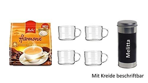 Melitta Kaffeepads Harmonie 16 Stk + + Geschenkeset Pad Dosen Deko neu beschriftbar mit 4 Glas...