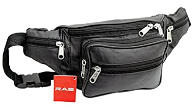 Genuine Soft Black Leather Extra Large Quality Travel Waist Bum Bag Money Pouch Adjustable Belt - 1006
