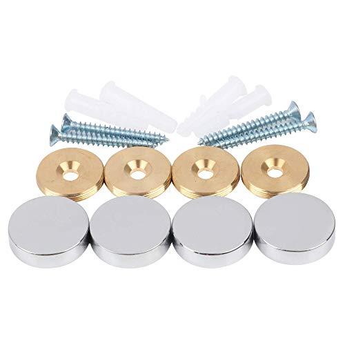 Spiegelschrauben, Messingkappe, dekorative Spiegelnägel, Chrom, 4 Stück