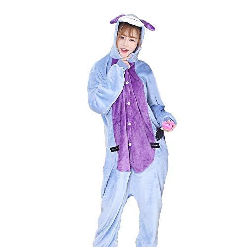 DUKUNKUN Erwachsene Pyjamas Esel Pyjamas Kostüm Flanell Stoff Blau Cosplay Für Tier Nachtwäsche Cartoon Halloween Festival/Urlaub / Weihnachten,M