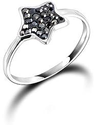 Dormith® femme mode argent sterling 925 gris étoile bagues pour femmes diamants tchèques bijoux taille est 54