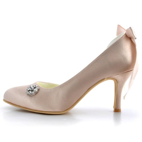 Elegantpark E0618 Raso Punta Chiusa Nastro Diamante Bowknot Tacco Alto Scarpe da sposa Ballo Partito da Sera Champagne