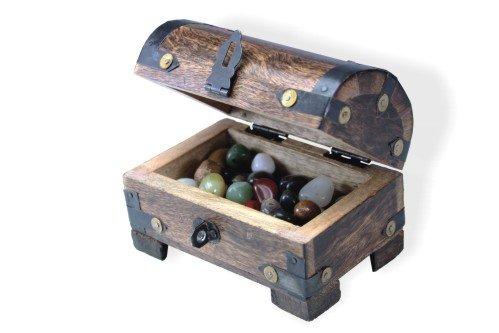 Madera spielerei 73627–7–Campesinos kasse pequeño con media piedras preciosas