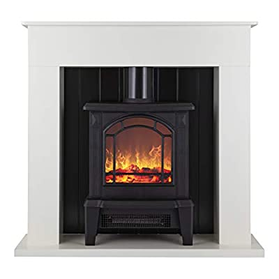 Warmlite WL45013 Electric Canterbury Fireplace Suite with Adjustable Thermostat Control, Safety Cut-Out System, Realistic LED Flame Effect, Pebbles Included, 2 Heat Settings 1000-2000 W, Black