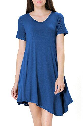Frauen - Elegante Linie Kurze Ärmel Swing Party - Kleid Blue