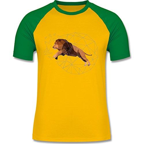 Sonstige Tiere - Freiheit Löwe - zweifarbiges Baseballshirt für Männer Gelb/Grün