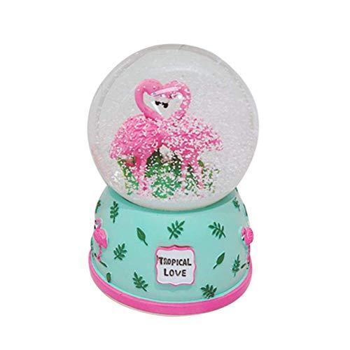 Yissma Fashion Design Schöne Flamingo Schnee Kristallkugel Rotierenden Lichter Spieluhr Valentinstag -