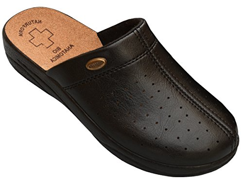 Damen Pantolette Sandalen Komfort Kork Hausschuhe Arbeit Modell 3512 (39, Black)