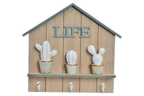 DonRegaloWeb - Portemanteau Porte-clés en Bois avec Cactus de résine