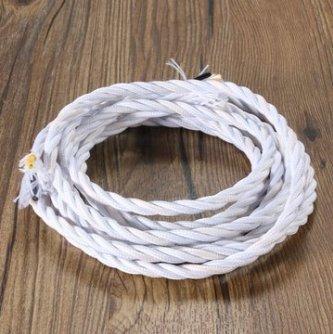 Twist 3 Licht (MASUNN 3M Vintage Farbig SIY Twist Geflochtenen Stoff Flex Kabel Draht Schnur Elektrische Lampe-Weiß)