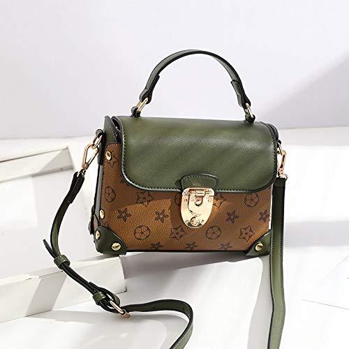 LFGCL Taschen womenOld Flower Lock Handtasche Handtasche Frau Niet Schulter umschlungen Paket, grün (Mk Frau Handtasche)