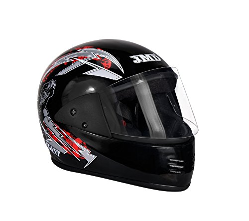 JMD HELMETS Unisex Helmets Elegant Graphic, Full Face Unisex Helmet (Black & Red, Large)