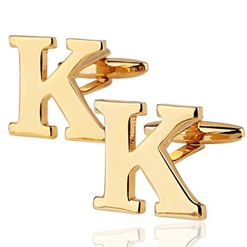 AMDXD Herren Hemd Manschettenknöpfe aus Hochglanz 18K Vergoldet Gold Buchstaben-K Cufflinks für Männer Hochzeit
