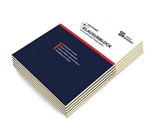 5er Pack Klausurblöcke, A4, liniert, weißer Korrekturrand links, 80 Blatt, 80 g/m² Papier
