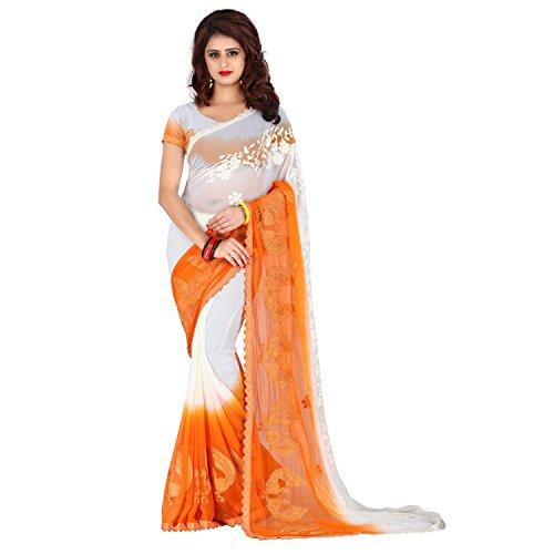 Being Banarasi Chiffon Saree With Blouse Piece (1253_C_Orange_Free Size)