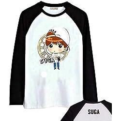 Camisetas de Manga Larga BTS Spring Tops de Dibujos Animados Impresión Blusas Cute Flojo T-Shirt Patchwork Remeras para Hombre y Mujer