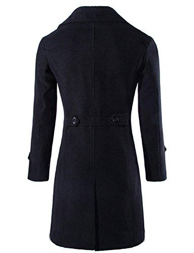 Brinny Herren Stilvoller Klassischer Mantel Zweireihig Geknoepft Trenchcoat Schwarz