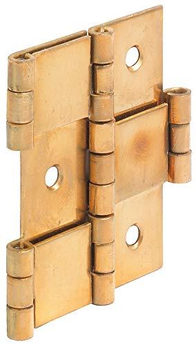 Gedotec Paraventscharnier Tür Möbelscharnier gerolltes Scharnier in beide Richtungen beweglich | 3-teilig für Holzdicke 20 mm | Messing poliert | 1 Stück - Pendeltürband faltbar & flexibel (Paravent-scharniere)