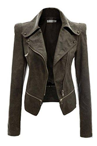 Frauen So Lange Ärmel Pu - Leder Motorrad - Biker - Jacke Auf Outcoats Plus Size - Blazer Navygreen S