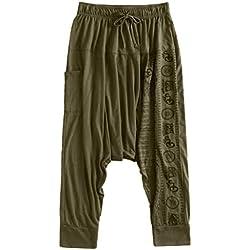 Clacce - Pantalones harén para hombre, estilo holgado, pantalones bombachos, pantalones de deporte, pantalones de deporte, pantalones de ocio, hippie o yoga, Todo el año, Hombre, color verde, tamaño M