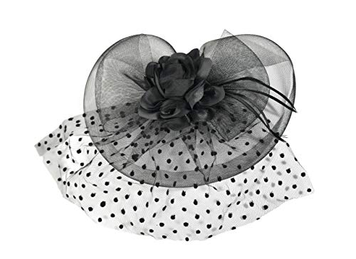 Home-X Damen Fascinator Hut Schleier, gepunktet, (Schleier Hut)