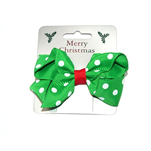 Festive Green Grosgrain Ribbon Bow with White Polka Dots on a Forked Clip Christmas Hair Accessory -