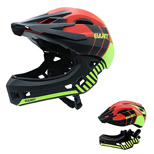 EULANT Aktualisierter Fullface-Helm für Kinder, Kinderhelm mit Kinnschutz, Fahrradhelm für Mädchen und Jungen im Alter von 2-10 Jahren, passt Kopfgröße 48-56,Rot M
