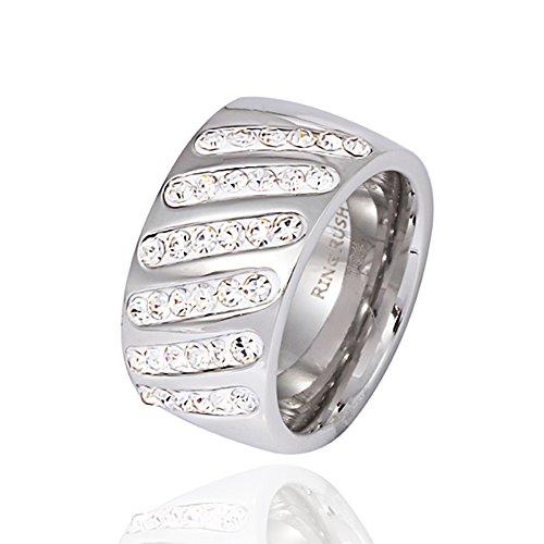 Akkki Ring Rush Edelstahl Damen Ringe strass frauen silber ring Stein breite Massive Chrystal Rose NEU 001 L/20