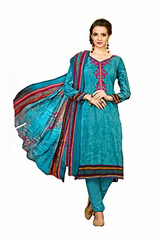 Blaue Saree (IWS Indian Women Designer Party wear sky blue Anarkali Salwar Kameez K-6196-57483)