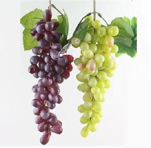 85pcs artificielle Home Decor Faux raisins en plastique Raisins Artificielles pour fête de noël Flora, rouge + vert, lot de 2