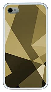 iPhone 4s Case and Cover - Gold Shapes Custom Design TPU Case Cover for iPhone 4/4s White