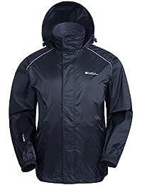 Mountain Warehouse Pakka Mens Waterproof Packable Jacket - Foldaway Hood Summer Jacket, High Vis Mens Coat, Lightweight Rain Jacket - For Wet Weather & Travelling
