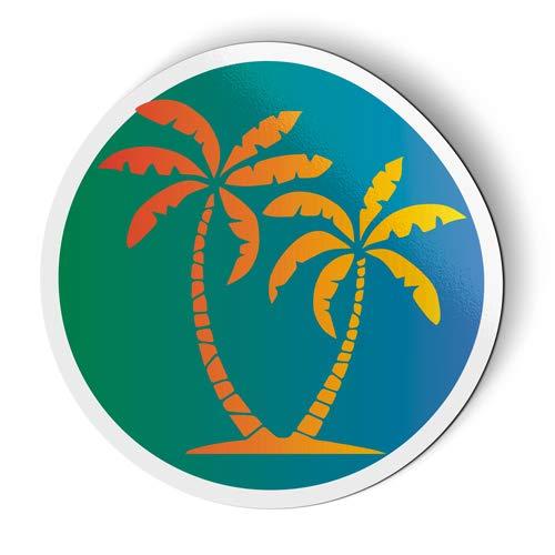 AK Wall Art Palm Trees Tropical Island Vibes - Magnet - Car Fridge Locker - 6-Inch -