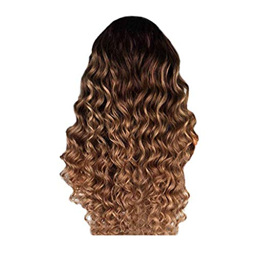 Waselia - Braun Langes Lockige Perücken Echthaar Human Hair Wigs Curly Wave Brazilian Virgin Hair Lace Front Wigs Pre Plucked Hairline Remy Hair Glueless Natural (Braun)