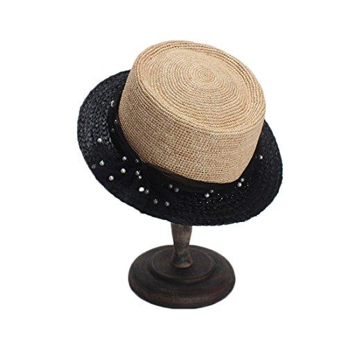 LBY Strohhut der Kleinen Hutmaschengaze-Perle Dekorativen Kurzen Krempe Flachen Hutes Sonnenhüte (Flachen Stroh-hut Krempe)